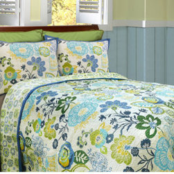 Scent-Sation, Inc. - Razzle Twin Quilt - - Bring a beautiful new look to your bedroom decor with Razzle collection from Scent Sation. Vivid, vibrant, and beautiful, the Razzle bedding collection brings the relaxing warmth of a springtime garden to your bedroom decor. This quilt features a cheerful floral blossom motif in off white, blue, green, and yellow. Machine wash cold with like colors tumble dry low. Cotton reversible quilt.  - Materials: 100% Cotton Shell / 70 Cotton / 30% Poly Fill Scent-Sation, Inc. - 460TRAZZDS
