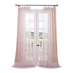 Exclusive Fabrics & Furnishings, LLC - Vita Taupe-Gold Embroidered Sheer Curtain - The classic white curtain has risen to another level with this dreamy version that boasts elegant embroidery in a subtle golden taupe. Its sheer weave means natural light is always perfectly diffused for a splendid dash