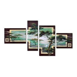 fabuart - African Tree Art Painting 4 Panel - 55 x 36in - This beautiful Art is 100% hand-painted on canvas by one of our professional artists. Our experienced artists start with a blank canvas and paint each and every brushstroke by hand.