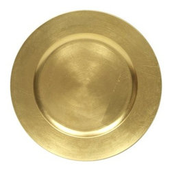 Set of 8 Gold Round Charger Plates Outdoor - Only the most confident chef should employ the Set of 8 Gold Round Charger Plates Outdoor at his next upscale picnic. Any less than the best cuisine, and guests might start using these shiny chargers as gongs of disapproval. Luckily, they're made from durable polypropylene, so even the most vigorous gonging won't ding the surface. However, with shiny frames like this, even hot dogs on a paper plate will look so delicious that guest may bang two chargers together as cymbals of excitement. Either way, it sounds like one noisy party lies ahead. Designed for decorative purposes only, this set of eight plates should be handwashed when needed.