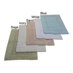 None - Lux 100-percent Cotton Tufted Reversible Rug or Bath Mat - These rugs are perfect for any bathroom as they come in the option of five different colors and three different sizes to fit any decor and room size. Great for kitchens too,this rug is easy to care for and machine washable.