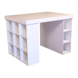 Venture Horizon - White Project Table - When your busy workday requires extra organization, try this project table. It has everything you need - storage, display, workspace and much more. 3 storage bins are complemented with an adjustable shelf bookcase. Workcenter is completed with a white finish. Not what you are looking for? Check out our full selection of project tables.. Includes tabletop, 1 bookcase and 3 bin cabinets. Deep drawers not included. Organizes all projects. Versatile work center. Accessible storage. Huge work surface. 9 Shelf bookcase. Shelves are adjustable. 3 Large storage bins. Constructed from durable, stain resistant and laminated wood composites that includes MDF. Made in the USA. Assembly required. Overall: 55 in. W x 40.75 in D x 38.5 in H. Table top: 55 in W x 41 in. D x 2.5 in H. Bookcase (9 sections): 39 in. W x 11.5 in. D x 36 in. H. Storage bays: 11.25 in. W x 13.13 in. D x 39 in. L. Drawer: 10 in. W x 17.25 in. D x 10 in. HOur Work Station's ingenious design makes it perfect for studying, sewing, crafting or scrap booking.  If you have a hobby like model airplane building or collecting coins then our spacious PROJECTCENTER is ideal.  From concept thru design & production, organize your creations...then relax. Our PROJECTCENTER will do the rest. It combines numerous convenient ways to organize and store all the materials for any project.  Whether it's keeping your work in process close at hand on the spacious 55 in. x 41 in. table top. Or arranging the contents of your materials in tidy oversized adjustable bookcase shelves. Longer or larger objects like wrapping paper, bolts of fabric or even architectural plans store conveniently in any of the large storage bins. They are open at both ends. Need more? Then add 3 or more deep drawers to the mix. Use them to hide the clutter of yarn, buttons, thread or what ever you need concealed. Without doubt this is the most intelligent PROJECTCENTER we have ever developed.Our PROJECTCENTER is comprised of 3 main components: Table Top, 9 Shelf Bookcase and 3 Bin Storage Cabinet. All may be ordered separately or as a group. The optional drawers are packaged 3 to a set and fit nicely into the storage bays.Best of all the PROJECTCENTER is counter top height. That's right. It is 38.5 in. high so you won't have to break your back gift wrapping, quilting, drawing or doing leather work. What ever the project, this center is for you.