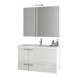 ACF - 39 Inch Glossy White Bathroom Vanity Set - Part of the ACF New Space collection, this wall mount bathroom vanity is essential.