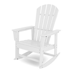 Polywood - Eco-friendly Rocker in White - The beach, the breeze, and the latest best seller the only way that could get any better is if you were enjoying it all in the contoured comfort of the South Beach Rocker. Want to turn your outdoor living space into the hottest spot in the neighborhood? Its easy with the South Beach Collection. Just like the popular Miami Beach scene, you'll enjoy an eclectic blend of bold art deco along with the relaxed comfort and style that you've come to expect from traditional Adirondack furniture. This collection not only looks amazing, but its also built to last for years to come. Provides the look of painted wood without the maintenance