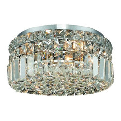 "PWG Lighting / Lighting By Pecaso - Chantal 4-Light 12"" Crystal Flush Mount 1726F12C-EC - The unique design of the Chantal Collection inspires any room setting. Dazzling spectacles of light sparkles throughout the fixture creating a modern, yet timeless beauty and elegance."