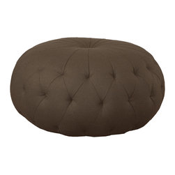 "Kathy Kuo Home - Lana Global Bazaar Firm Espresso Brown Round Ottoman - 43"" - Go ahead, take a seat.  This ottoman is built to do double duty as a stylish place to sit or rest your feet.  Button tufted and filled with the finest, firm filling, this ottoman makes a stylish addition to a wide variety of interior styles from Global Bazaar to Eclectic Modern and beyond.  Upholstered in a denim blue linen, this ottoman can also be covered in whatever fabric you choose. The possibilities are endless."