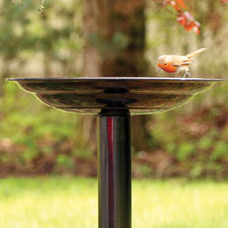 PineBush - Birdbath Dark Copper - Graduated basin to accommodate many varieties of garden birds. Finished in dark copper. Made of cold rolled steel.