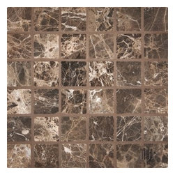 """2"""" x 2"""" Dark Emperador Tumbled Mesh-Mounted Marble Mosaic Tiles - 2"""" x 2"""" Dark Emperador Mesh-Mounted Marble Mosaic Tile is a great way to enhance your decor with a traditional aesthetic touch. This Tumbled Mosaic Tile is constructed from durable, impervious Marble material, comes in a smooth, unglazed finish and is suitable for installation on floors, walls and countertops in commercial and residential spaces such as bathrooms and kitchens."""