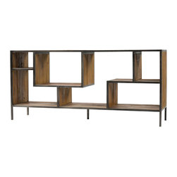 Marco Polo Imports - Henrik Console Bookcase - Balancing dramatic scale with flea marketing-find design, the Henrik console bookcase offers crisp lines in a vintage patina finish. With a solid iron frame and reclaimed wood shelves, this elegant bookcase provides smart and stylish organization for any room.