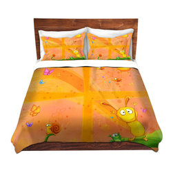 DiaNoche Designs - Duvet Cover Twill - Happy Baby Orange - Lightweight and soft brushed twill Duvet Cover sizes Twin, Queen, King.  SHAMS NOT INCLUDED.  This duvet is designed to wash upon arrival for maximum softness.   Each duvet starts by looming the fabric and cutting to the size ordered.  The Image is printed and your Duvet Cover is meticulously sewn together with ties in each corner and a concealed zip closure.  All in the USA!!  Poly top with a Cotton Poly underside.  Dye Sublimation printing permanently adheres the ink to the material for long life and durability. Printed top, cream colored bottom, Machine Washable, Product may vary slightly from image.
