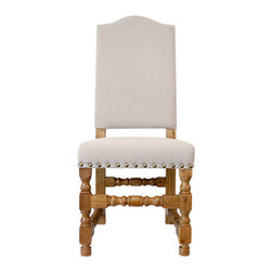 Urban Home Victoria Side Chair - Made of foam cushion wrapped in top quality linen. This chair is the perfect match for any elegant space. Features cup and cover style legs. Also, gold studs and a golden wood finish.