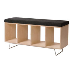 "OFFI - Bench Box With Pad And Legs - Designed by OFFI. Inside dimensions of each box: 10""W x 15""D x 13.25""H."