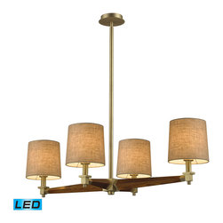 ELK Lighting - ELK Lighting 31326/4-LED Jorgenson 4-Light Chandeliers in Satin Brass - The Jorgensen collection stylishly bridges the gap between mid-century modern furniture design and lighting. This collection was designed using solid wood that emulates the tapered angle of fine furniture legs and angular metalwork that compliments its sleek style. Choose between two combinations of taupe wood, polished nickel metalwork and champagne fabric shades, or mahogany finished wood, satin brass metalwork and tan crosshatch textured linen shades. - LED, 800 lumens (3200 lumens total) with full scale dimming range, 60 watt (240 watt total)equivalent , 120v replaceable LED bulb included