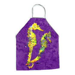 Caroline's Treasures - Seahorse Apron 8661APRON - Apron, Bib Style, 27 in H x 31 in W; 100 percent  Ultra Spun Poly, White, braided nylon tie straps, sewn cloth neckband. These bib style aprons are not just for cooking - they are also great for cleaning, gardening, art projects, and other activities, too!