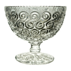 None visible - Consigned Pressed Glass Serving Stem Bowl with Scroll Decorations - Serving stem bowl, pressed glass with busy scroll decorated surface, antique English Victorian, late 19th century. Ideal to serve dessert or side dishes.This is an antique One of a Kind item. Some wear and imperfections are to be expected, as described.