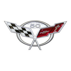 PhotoSteel - Chevrolet Corvette C5 50th Anniversary Emblem 18 x 8 Metal Sign - Check out this AWESOME metal sign. It has high-resolution graphics with exceptional detail and vibrant colors, for 3D-like quality on thick 14-gauge flat steel. Durable and rust-proof to withstand even the harshest environments indoors or outdoors. It's perfect for your Man Cave, Garage, Game Room, Office or anywhere you want to show love for your favorite car. Includes pre-drilled holes for easy mounting. Officially licensed General Motors GM product. Made in the USA.