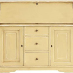 San Marino Secretary Desk - If one ever thought yellow accents were only appropriate for modern spaces, this gorgeous yellow secretary desk will surely prove that theory wrong. I think this particular shade is stunning next to dark brown furniture and robin egg blue accents.
