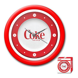 Trademark Global - 1970's Style Coca-Cola Clock with White Neon - Includes retail packaging. Requires 1 AA battery for clock operation. Battery not included. High grade acrylic cover. High gloss Red and White molded case. Bright White Neon ring. Full color logo on the clock dial. Brushed metal hour and minute hands, Red second hand. Wall hanging mount. AC power adapter with 6 ft. cord for Neon ring operation. Dimensions: 2 x 12 x 12 inchesBring the unique style of the world's most recognizable brand home with this incredible Coca-Cola clock. This retro Neon clock comes with a bright White ring on the inside to light up the Coca-Cola design and the high gloss Red and White molded case adds to the brilliant shine of the Neon. Make a spectacular addition to your kitchen, den or game room with this amazing clock.