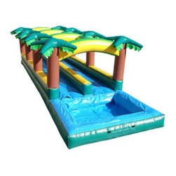 Kidwise - Kidwise Hawaiian Slip & Slide Double Lane Inflatable Slide With Pool - KE-WS4313 - Shop for Tents and Playhouses from Hayneedle.com! Let summer heat up the fun while the Kidwise Hawaiian Slip and Slide Double Lane Inflatable Slide With Pool cools down the kids. This fun commercial grade inflatable will be a hit at birthday parties church functions fairs festivals or block parties. It s made of durable 18-ounce colorful PVC vinyl and features a long double lane design for fast paced sliding action and a refreshing pool to splash in at the end of your wet and wild ride. It also comes complete with blower repair kit stakes and tarp.About Kidwise ProductsThis item is made by Kidwise Outdoors a company whose focus is safe fun excitement for kids. Kidwise strives to promote safe play for kids of all ages through outside activities. Their line of products includes swing sets trampolines inflatable bouncers bikes sport goals and many other items to choose from. Kidwise guarantees all of their products against defects. Like Hayneedle their goal is 100% satisfaction from customers. Their product lines focus on kid-friendly items that are fun to play with and stimulate balance and a healthy lifestyle for kids.