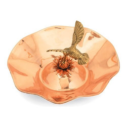 """Achla - Hummingbird Birdbath - Polished copper makes for a resplendent and shining outdoor ornament which will not only attract beautiful birds, but add its brilliance to any garden or lawn.  Its delicately shaped flower theme features a dazzling hummingbird in mid-flight as it feeds. * Polished copper makes for a resplendent and shining outdoor ornament which will not only attract beautiful birds, but add its brilliance to any garden or lawn. Its delicately shaped flower theme features a dazzling hummingbird in mid-flight as it feeds. polished copper with brass hummingbird13"""" dia. X 7""""H. Couple your birdbath w any of our stylish Birdbath Stands"""
