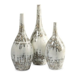 Hampton Mexican Pottery Vases - 15H in. - Set of 3 - The versatile crackle pattern on the Hampton Mexican Pottery Vases - 15H in. - Set of 3 pairs with practically any decor. They're crafted of traditional clay with sleek, slender necks.About IMAXWhat began as a small company importing copper flower containers in 1984 by Al and Faye Bulak has developed into one of the top U.S. import companies serving the At Home market today. IMAX now provides home and garden accessories imported from twelve countries around the world, housed in a 500,000 square foot distribution center. Additional sourcing, product development and showroom facilities in the USA, India and China make IMAX a true global source. They're dedicated to providing products designed to meet your needs. This is achieved through a design and product development team that pushes creativity, taste and fashion trends - layering styles, periods, textures, and regions of the world - to create a visually delightful and meaningful environment. At IMAX, they believe style, integrity, and great design can make living easier.