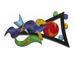 Alisa Diva - Dance of Color Wooden Wall Hanging - The movement of color on your wall is best depicted by the Dance of Color Wooden Wall Hanging. It encases blue, purple, green, and black in a romantic design that seems to sway. This three-foot economical piece of abstract art will enhance any wall of a contemporary home or apartment. It would be as appropriate in a music room as it would in a studio apartment, requiring little space to dance into your heart. What a great wedding gift for a young artistic couple, or college graduate for their first home.