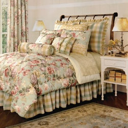 Jennifer Taylor Chesapeake Comforter/Duvet Set - Dress your bed in the Jennifer Taylor Chesapeake Comforter/Duvet Set for a fresh combination of blooming floral and handsome tartan plaid. Shades of soft amber, sage green, and rose give this bedding collection its upscale, country look. It comes in several size options, each with a variety of coordinating pillow shams finished with velvety trims, grosgrain ribbon detail, and a diamond pattern.Additional Details10-piece set: 1 comforter/duvet: 110 x 96 inches1 bed skirt: 78 x 80 inches (18-inch depth)3 Euro shams: 26 x 26 inches2 kings shams: 21 x 37 inches3 décor pillows9-piece set: 1 comforter: 93 x 96 inches1 bed skirt: 60 x 80 inches (18-inch depth)2 Euro shams: 26 x 26 inches2 standard shams: 20 x 27 inches3 décor shams4-piece set: 1 comforter: 104 x 96 inches1 bed skirt: 60 x 80 inches (18-inch depth)2 king shams: 21 x 37 inchesAbout ACG Green Group, Inc.ACG Green Group is a home furnishing company based in Irvine, California and is a proud industry partner with the American Society of Interior Designers. ACG Green features Jennifer Taylor and Sandy Wilson, their exclusive home décor lines. These two complete collections offer designer home furniture, bedding sets, dining linens, curtains, pillows, and more in classic silhouettes, original designs, and rich colors to complement your home and life.