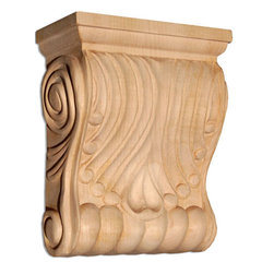 "Inviting Home - Columbus Medium Wood Corbel - Cherry - wood corbel in cherry 5-1/2""H x 2-1/4""D x 4-1/2""W Corbels and wood brackets are hand carved by skilled craftsman in deep relief. They are made from premium selected North American hardwoods such as alder beech cherry hard maple red oak and white oak. Corbels and wood brackets are also available in multiple sizes to fit your needs. All are triple sanded and ready to accept stain or paint and come with metal inserts installed on the back for easy installation. Corbels and wood brackets are perfect for additional support to countertops shelves and fireplace mantels as well as trim work and furniture applications."