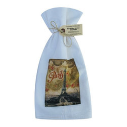 Paris Floral    Flour Sack Towel  Set of 2 - A fabulous set of 3 flour sack towels. This set features a wonderful Thanksgiving antique print of everyone's favorite place�..Paris.   These towels are printed in the USA by American Workers!