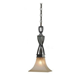 "Golden Lighting - Golden Lighting 1850-NK1 Wrought Iron Single Light Pendant from the Genesis Coll - *Requires 1 60w Candelabra Base Bulb (not included)Features 1 Evolution Glass Shade and a Roan Timber FinishIncludes 72"" of Chain for Hanging"