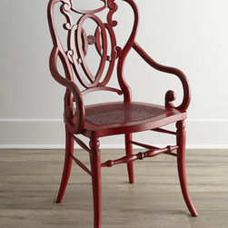 Horchow - Davinia Rattan-Seat Chair - Beautifully distressed for an antique look, this versatile chair with intricately curving arms and back works in the dining room, entryway, or any living space. Select color when ordering. Made of European beechwood with rattan seat. Hand-painted glaz...