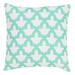 """Surya - Surya FF-049 Dazzling Decorative Pillow, 22"""" x 22"""", Down Feather Filler - Turn the spotlight on your space with this sensational pillow! Featuring a bold, intersecting geometric pattern highlighted by dynamic blue and green coloring, this pillow is sure to complete your space. This pillow contains a zipper closure and provides a reliable and affordable solution to updating your home's decor. Genuinely faultless in aspects of construction and style, this piece embodies impeccable artistry while maintaining principles of affordability and durable design, making it the ideal accent for your decor."""