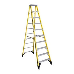 Werner 7310 10 ft. Fiberglass Step Ladder - The Werner 7310 10 ft. Fiberglass Step Ladder gives you the stability, safety, and height you need to get the job done. This quality ladder is crafted from durable fiberglass and features a 375-pound special duty rating. Its Heavy gauge Tool-Tra-Top offers strength and functionality while braced and reinforced steps provide extra stability and safety. GlassMark Violator stripes offer more visibility for a safer workspace.About WernerWerner is an industry leader that has manufactured and distributed ladders and climbing equipment for over 60 years. Werner ladders are found on more trucks and job sites than all other brands combined. Each product offers a state-of-the-art design and manufacturing process, creating professional-grade products that are made to be utilized in the home as well as on the job site. Werner Co. products are built to meet or exceed all applicable American National Standards Institute (ANSI) and Occupational Safety and Health Administration (OSHA) code requirements.