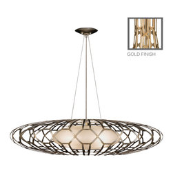 Fine Art Lamps - Allegretto Gold Pendant, 798540-2ST, by Fine Art Lamps - This striking designer pendant lamp has a touch of art deco style, with its geometric-patterned metal cage and vintage-looking frosted glass shade, but the oblong saucer shape and weightless, open design keep it fresh and modern. Suspend it over a long table or bar to give the room a light, lyrical touch.
