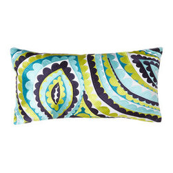 """Trina Turk - Trina Turk Blue/Yellow """"Super Paradise"""" Pillow, 20"""" x 10"""" - You can always count on Trina Turk for vibrant bedding with modern flair. """"Santorini"""" quilted linens are made of 205-thread-count cotton sateen. Choose from an array of heavily embroidered pillows to make the look your own. For quilted linens, select c..."""