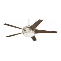 Emerson - Emerson Midway ECO (DC Motor) Ceiling Fan in Brushed Steel - Emerson Midway ECO (DC Motor) Model CF955BS in Brushed Steel with Midnight Bordeaux Finished Blades. Single non-dimmable energy saving fluorescent light fixture with white opal glass.