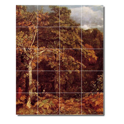 Picture-Tiles, LLC - Wooded Landscape Tile Mural By John Constable - * MURAL SIZE: 40x32 inch tile mural using (20) 8x8 ceramic tiles-satin finish.