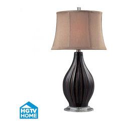 Dimond - One Light Coffee Glaze Taupe Nylon Shade Table Lamp - One Light Coffee Glaze Taupe Nylon Shade Table Lamp