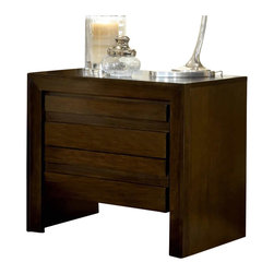 Modus Furniture - Modus Element Nightstand in Chocolate Brown - Modus Furniture - Nightstands - 4G2281 - Wake up with structure with this architecturally designed contemporary collection. Thick mitre-jointed outer posts are the focus as the furniture effortlessly evolves following clean lines from the top panels all the way to the floor.  Tropical Mahogany solid wood and Mahogany wood veneers are finished in a dark chocolate brown featuring tones ranging from dark brown to golden brown and burgundy.  Carved drawer pulls run the length of each drawer to ensure easy operation without the visual distraction of hardware. Each drawer features full extension drawer glides on sanded and stained solid wood drawer boxes with front/rear English dovetail joinery. The nightstands feature deep drawers and a 3-outlet power strip in the top drawer. The dresser includes a felt-lined top drawer.   The Element Collection is is ready to define your bedroom offering ample storage and a contemporary package.