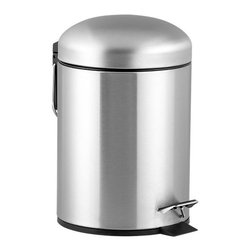 Brushed Stainless Steel 1.3-Gallon Trash Can - Step-on convenience in brushed stainless. Modern can has separate inner basket and convenient carrying handles.