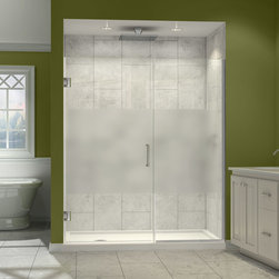 "Dreamline - Unidoor Plus 34 to 34-1/2""W x 72""H Hinged Shower Door, Half Frosted Glass Door - The Unidoor Plus Shower Door offers something for every space with models to fit a wide range of openings. A clean frameless glass design and minimal hardware create an open and airy appeal. The premium 3/8"" thick tempered glass has a fingerprint-free frosted band which adds an element of design and privacy. This collection is extremely versatile with an incredible range of sizes to accommodate shower openings from 23"" to 61"" in width. Choose from the many options the Unidoor Plus Collection has to offer and give your shower a sophisticated touch for an exceptional quality."
