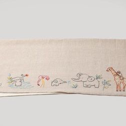 Critter Embroidered Linen Receiving Blanket - Backed with 100 percent organic brushed cotton, this receiving blanket is the perfect gift for the green newborn in your life.