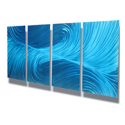 Miles Shay - Metal Art Wall Art Decor Abstract Contemporary Modern Sculpture- Echo Blue - This Abstract Metal Wall Art & Sculpture captures the interplay of the highlights and shadows and creates a new three dimensional sense of movement as your view it from different angles.