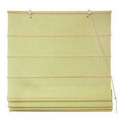 Oriental Furniture - Cotton Roman Shades - Yellow Cream - (60 in. x 72 in.) - These Yellow Cream colored Roman Shades combine the beauty of fabric with the ease and practicality of traditional blinds. They are made of 100% cotton are easy to hang, and easy to open and close.
