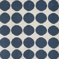 Jaipur Rugs - Flat Weave Geometric Pattern Blue Wool Handmade Rug - MR08, 3.6x5.6 - An array of simple flat weave designs in 100% wool - from simple modern geometrics to stripes and Ikats. Colors look modern and fresh and very contemporary.