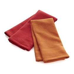 Set of 2 Red Waffle-Terry Dishtowels - Thirsty, textural towels in orange and red are waffle on one side, terry on the other, each with handy hanging loop. The waffle face can be used for lint-free drying of delicate glassware lint free, the absorbent terry side for drying everything else.