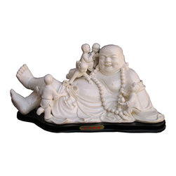 Golden Lotus - Unique Chinese High Quality Porcelain Reclining Happy Buddha Statue - Look at this Chinese white reclining Buddha statue which is made of porcelain.