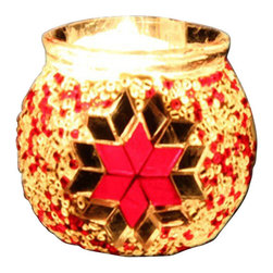Art-Win Lighting CH11006 Handmade Mosaic Candle Holder, Red - Handmade in Istanbul, Turkey. Hand-crafted item is produced with glass-on-glass technique. Tradition of centuries is now available for you. Fine handmade mosaic lamps that require years of experience and specialized craftsmanship are carefully manufactured by Art-Win Lighting.