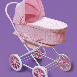 "Badger Basket - 3-In-1 Doll Pram/Carrier/Stroller - Pink Rosebud - This exciting item includes a Doll Pram, Carrier, and Stroller all in one so that your child can take her dolls everywhere in comfort and style. Carrier is 6.5"" deep and can be attached to the frame so that the pram faces forward or faces your child as she pushes the carriage. For dolls up to 24"". Can be enjoyed by children from three years old and up. Small parts - not for children under three. Some assembly required. Illustrated instructions included. This item is a toy for use with dolls only. It is never to be used with real infants or pets. Manufacturer: Badger Basket. Brand: Badger Basket. Part Number: 00561. UPC: 46605735619"