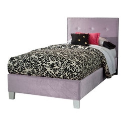Standard Furniture - Standard Furniture Young Parisian Upholstered Kids' Bed in Lavender Velvet - Upholstered Kids' bed in Lavender Velvet belongs to Young Parisian collection by Standard Furniture. Young Parisian beds will add alluring Hollywood glamorous styling to youth bedrooms, with their plush fabrics and eye-catching jeweled accents.
